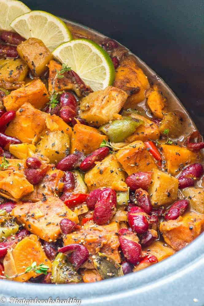 Caribbean potato curry close up shot