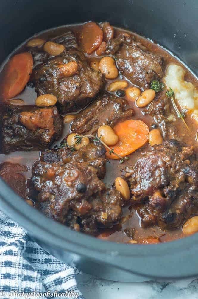 Jamaican oxtail stew with carrot and butter beans