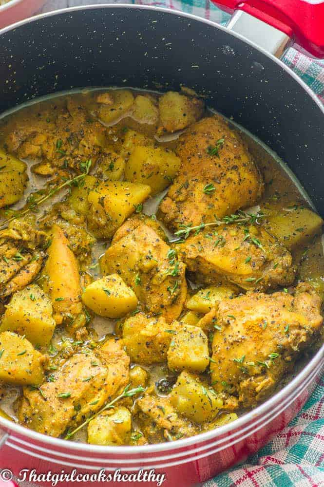 A close up of the curried chicken with potatoes