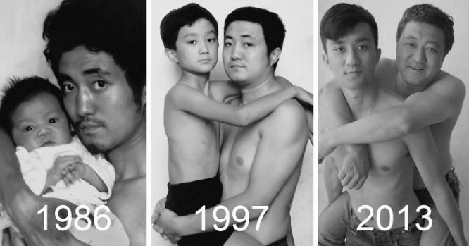 father and son photos over time