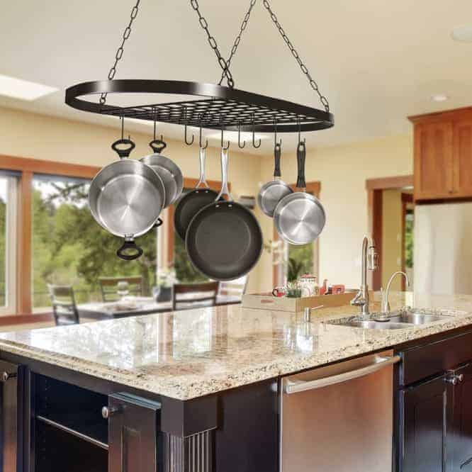 using pot and pan hanging rack to organize your kitchen