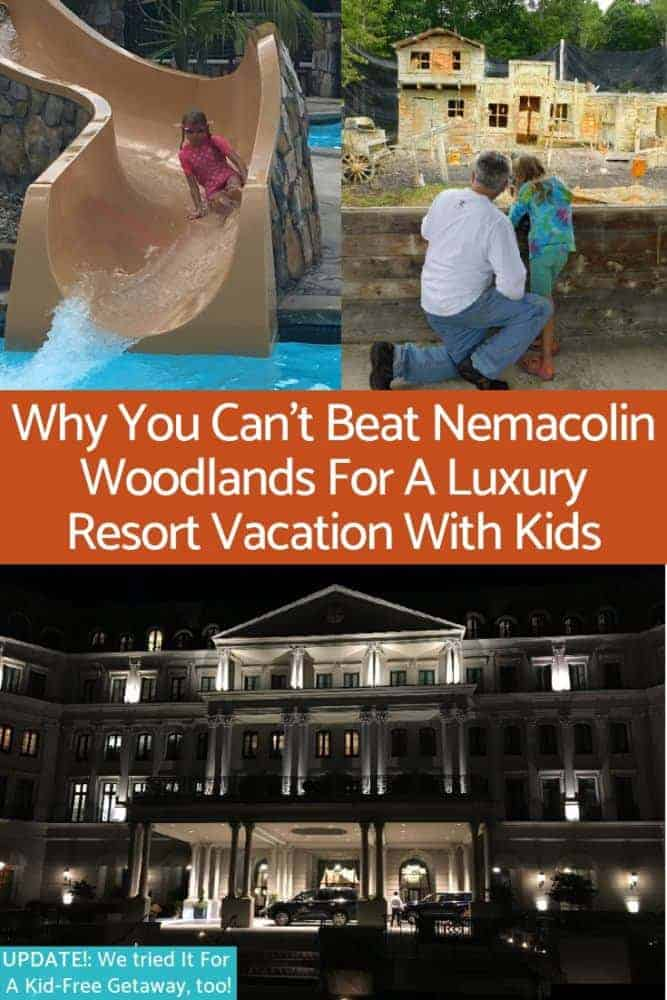 Nemacolin woodlands, in southern pennsylvania offers 2 luxury hotels and private houses, great kid-free restaurants, adventure activities and a huge pool. It's perfect for an upscale family vacation. #nemacolin #pennsylvania #kids #vacation #luxury #resort #family #dining #kid-friendly