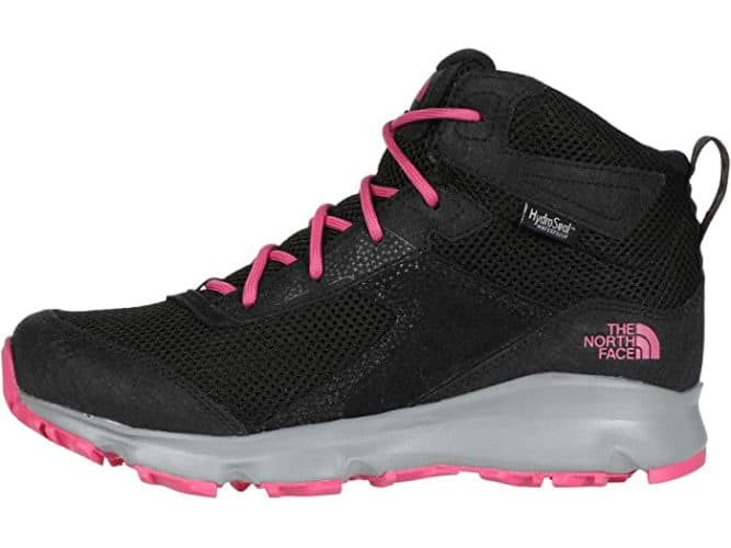 Northface's hedhog hiker boot for girls has a sporty high-top sneaker look and bright pink laces.