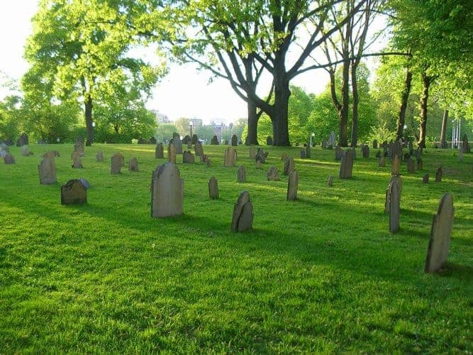 The graveyard at boston common has far more bodies than graves.