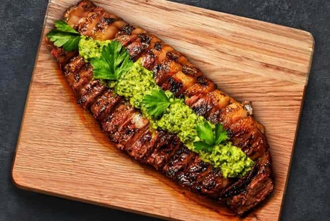 grilled wagyu new york strip steak with chimichurri
