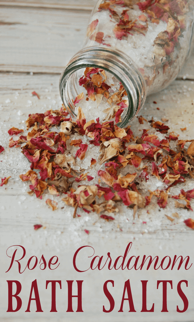 Relax your troubles away with these rose cardamom bath salts. Floral with just a touch of spice, these diy bath salts will turn your plane Jane bath into an indulgence. Makes a quick gift as well! #roses #cardamom #bathsalts #bath #naturalskincare #selfcare #epsomsalts