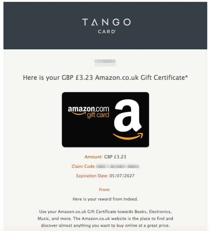 Amazon gift card from Job Spotter