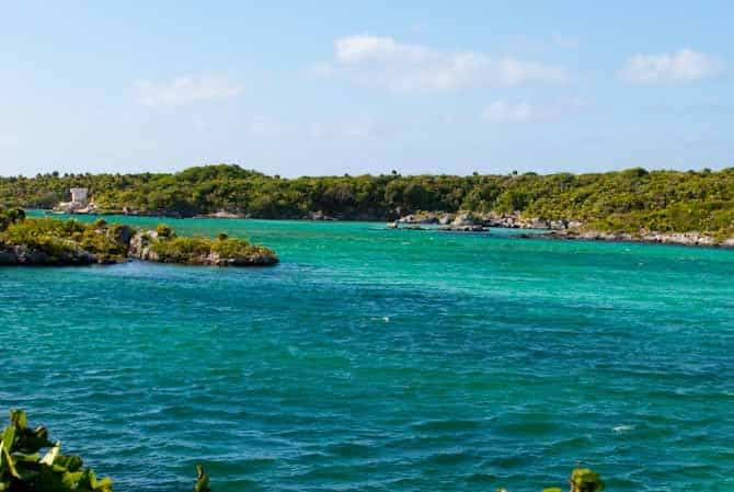 Crystal clear, turquoise water at Xel Ha water park near Tulum Mexico