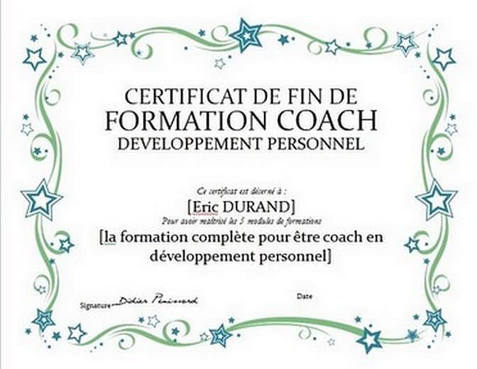 certificat de master coach en développement personnel