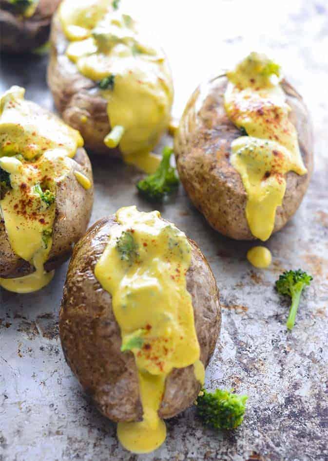 Vegan Broccoli Cheese Baked Potatoes