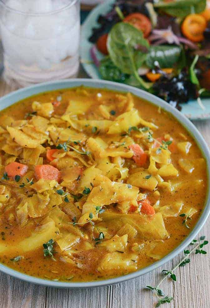 Curry Cabbage straight on shot