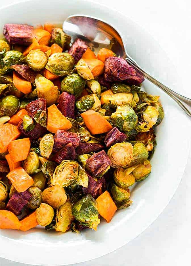 Maple Roasted Brussels Sprouts and Sweet Potatoes