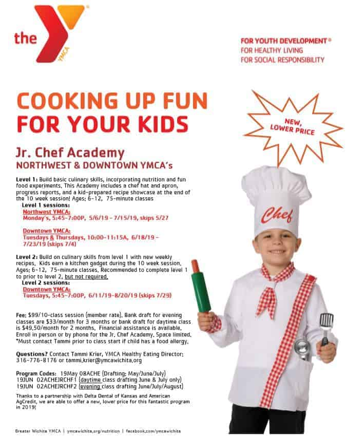 Jr. Chef Academy YMCA flyer for cooking class