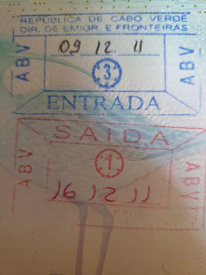 Cape Verde Arrival Stamp for British Citizen
