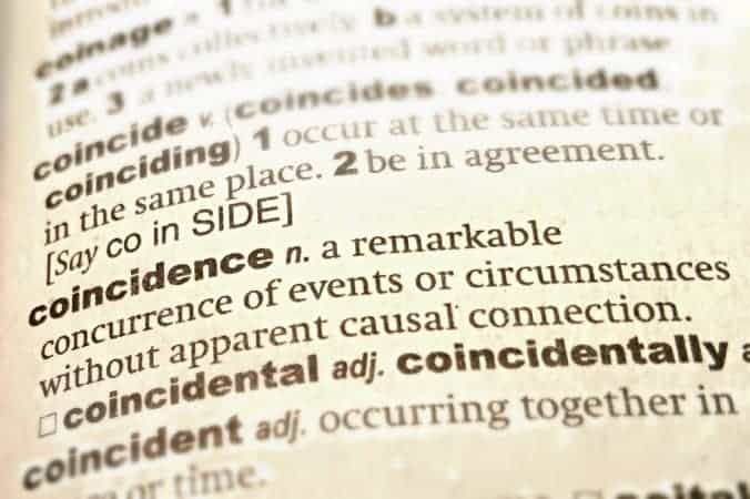 The page of the dictionary with the definition of the word 'coincidence': remarkable concurrence of events or circumstances