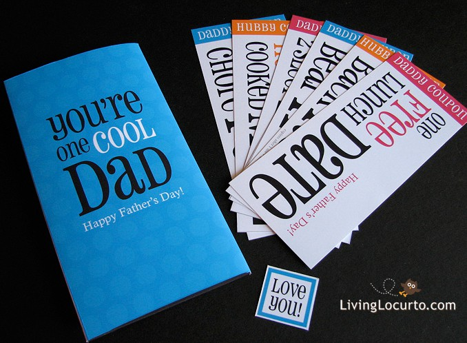 A fun printable Father's Day Card and coupons you can print from home on your computer! Dads will love these coupons and card. Easy last minute gift idea!