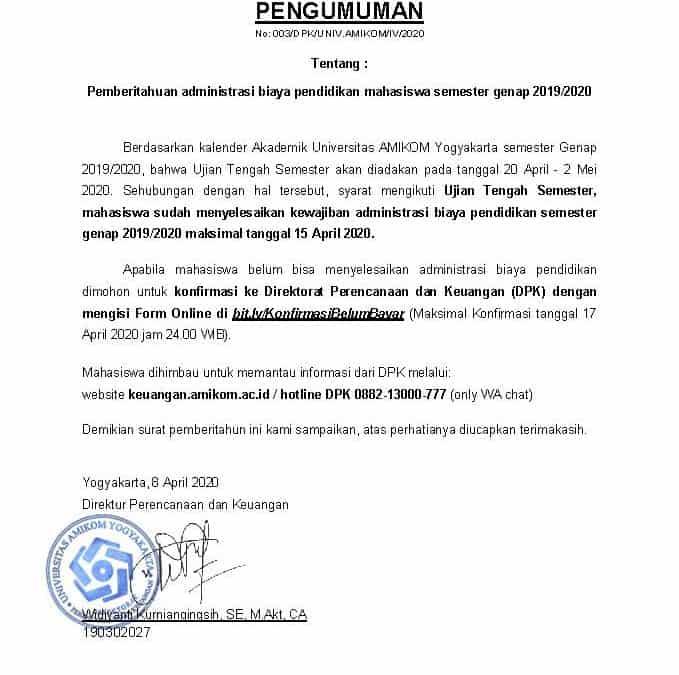 Pemberitahuan Administrasi Biaya Pendidikan Mahasiswa  Genap 2019/2020