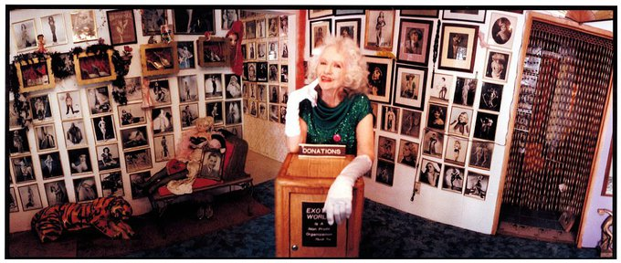 Dixie Evans inside the Exotic World Burlesque Museum, 2005. Photo by Laure Leber.