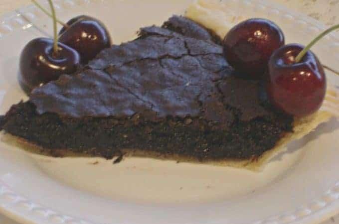 Chocolate Fudge Pie. A chocolate pie with a brownie-like consistency.