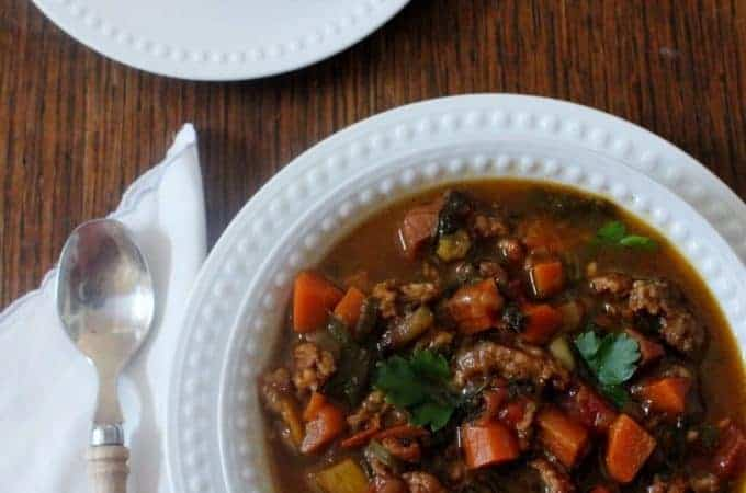 Italian Sausage and Vegetable Soup. Made with ingredients on hand: Italian sausage, ham and fresh vegetables.