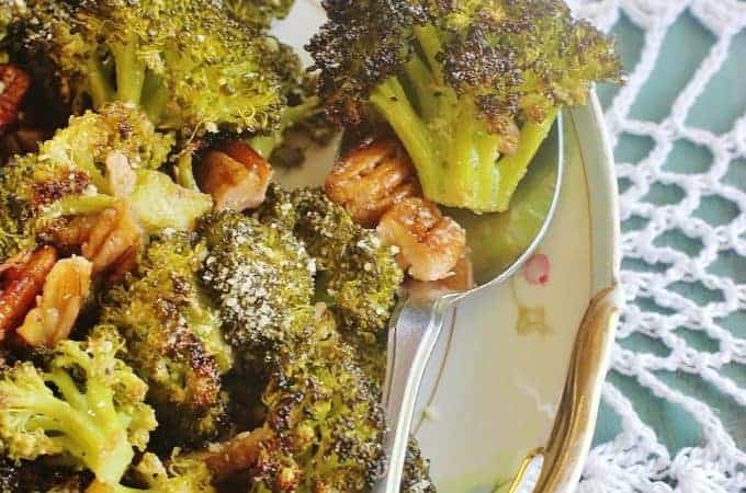 Roasted Broccoli and Pecans. Broccoli florets and pecans tossed in a lemon garlic vinaigrette and roasted until the broccoli starts to brown.