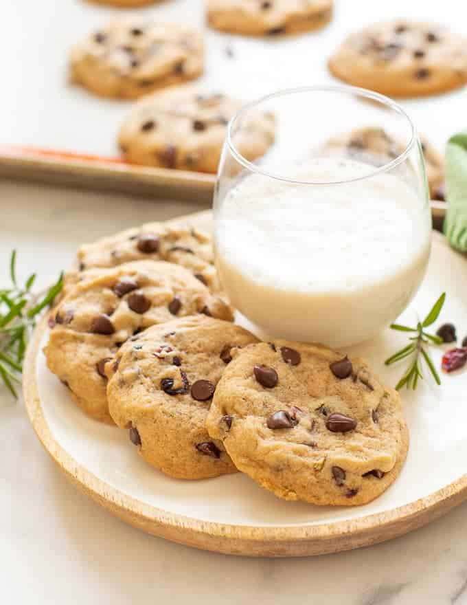 Chocolate Chip and Rosemary Cookies pictured with milk