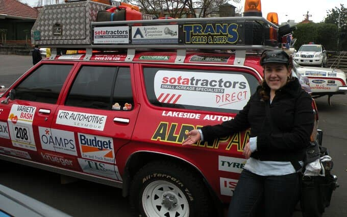 SOTA Tractor's Suzanne Day with the car before kick-off.