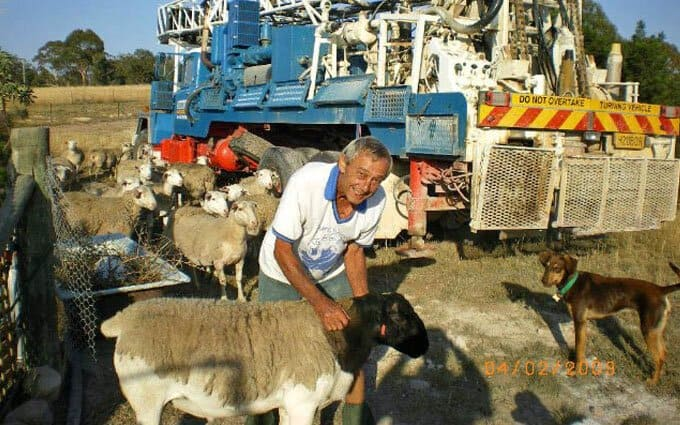 Robert Stitt with his Dorper sheep.