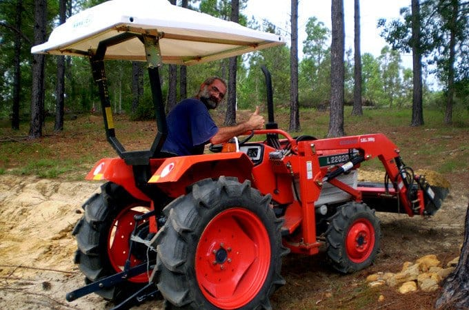 Stephen Hart with his remanufactured Kubota L2202D.
