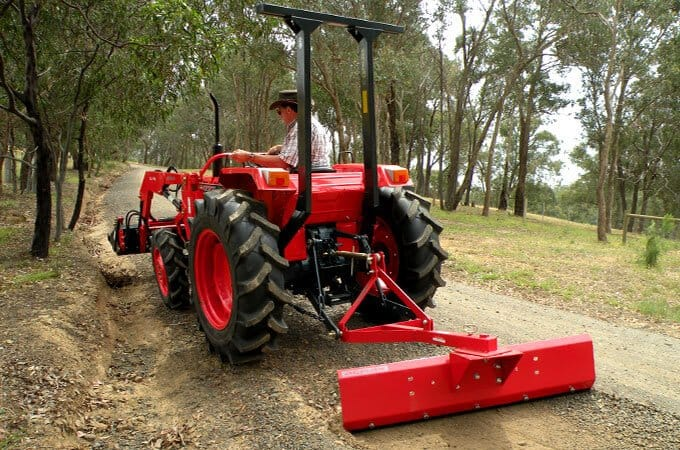 An AGMAX grader blade easily attaches to your tractor's three point linkage.