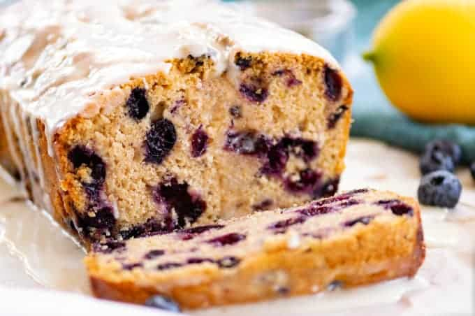 Lemon Blueberry Bread made with whole wheat