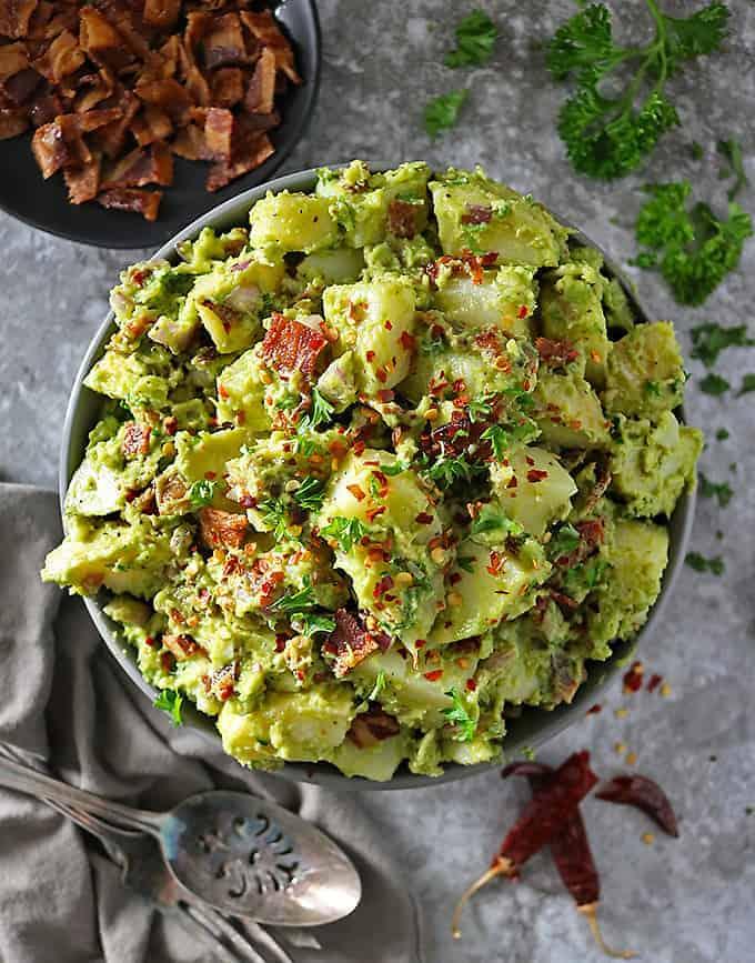 Easy Potatp Bacon Salad with avocado dressing