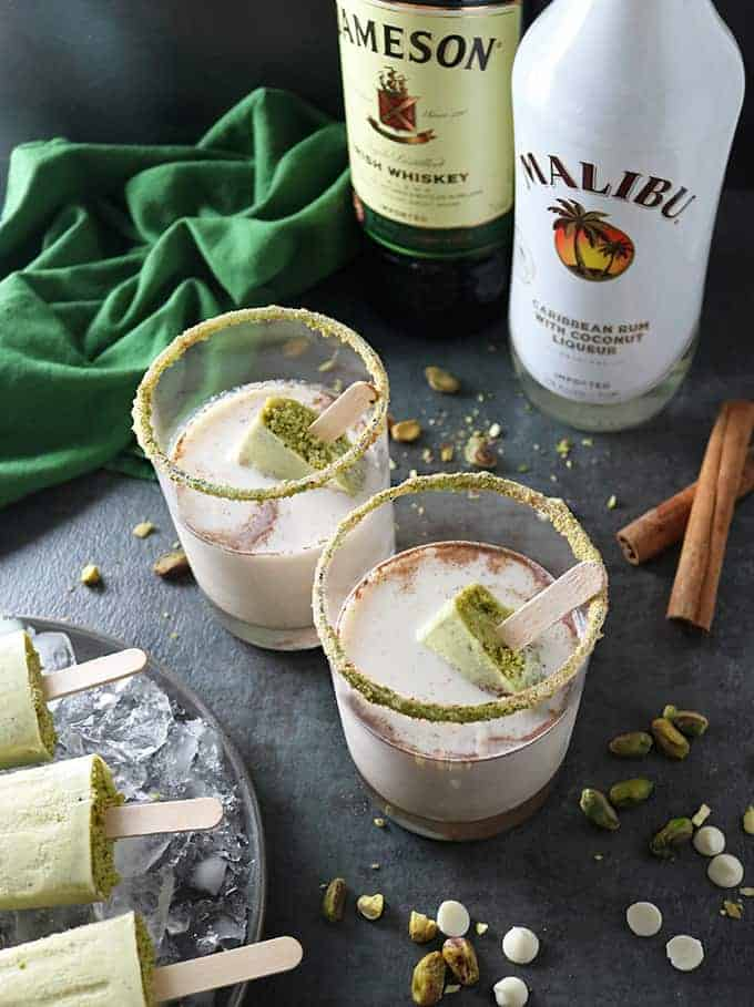 Photo of Pistachio White Chocolate Rum Popsicles In Rum Whisky Milk Cocktail