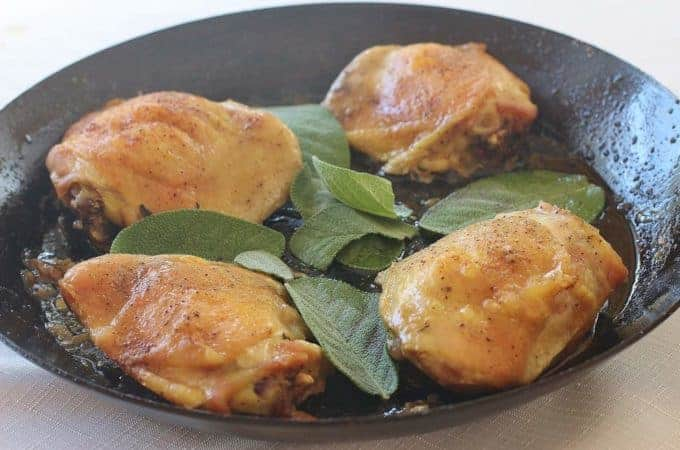 Sage Roasted Chicken Thighs. Seasoned thighs oven roasted with fresh sage. #chicken #sage #southern
