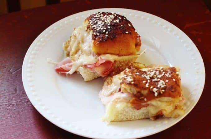 Funeral Sandwiches. Virginia ham and Swiss cheese on Hawaiian rolls, marinated in a savory butter sauce and baked. Serve warn or at room temperature