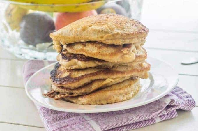 One Bowl Buttermilk Banana Cinnamon Pancakes. Easy to make hardy pancakes. Everything mixes in one bowl. Serve warm with butter and syrup.