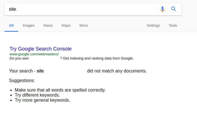 site deindexed by google