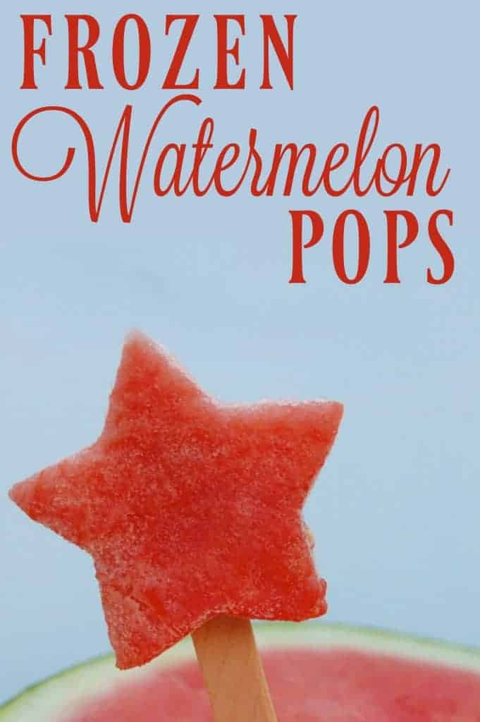 Frozen Watermelon Pops are probably the world's easiest popsicle to make! Perfect for beating the summer time heat! #popsicle #watermelon #summertreat #summersnack