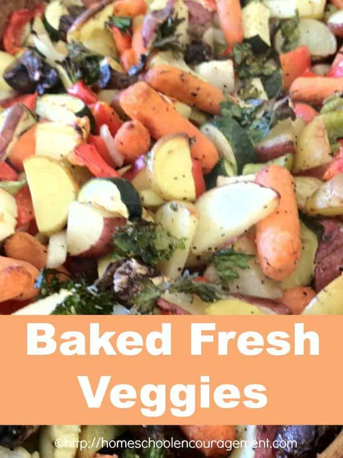 Running out of time to get dinner on the table?  Try this baked fresh vegetable mix that is quick and easy AND can be used with almost any vegetable so use whatever you have.