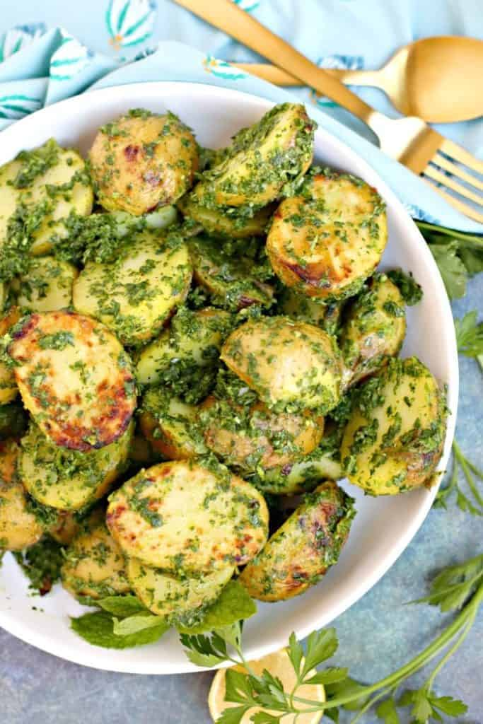 Delicious herbed potatoes ready to eat.