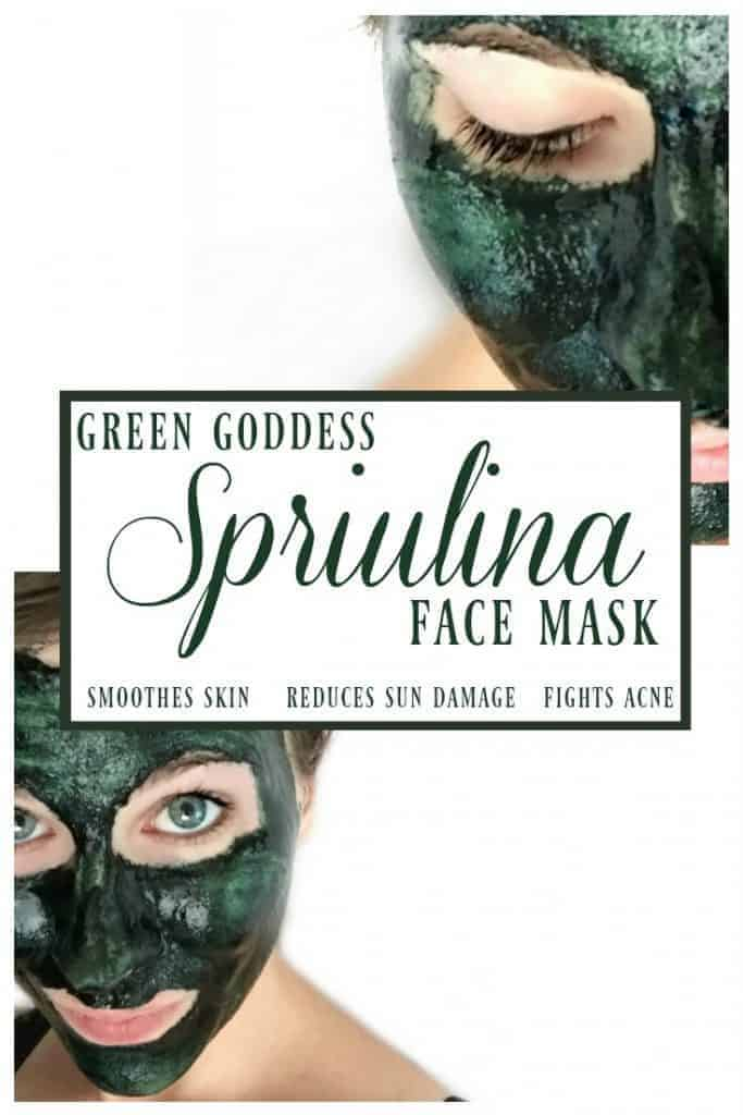 Green Goddess Spirulina Face Mask -This mask is a oh so lovely shade of green but the lovely hue is not the only reason to love this green goddess spirulina face mask! Spirulina is a super food for your diet AND your skin! #spirulina #facemask #herbalfacemask #greenbeauty #greengoddess