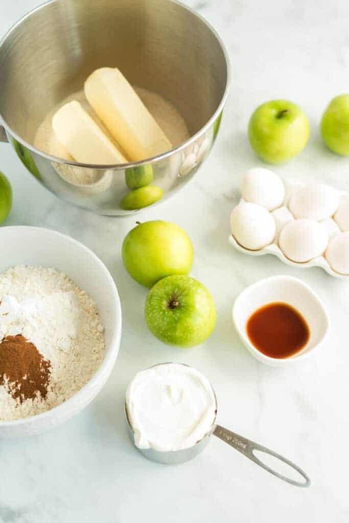 apple, eggs, caramel, sugar, ingredients for apple pound cake
