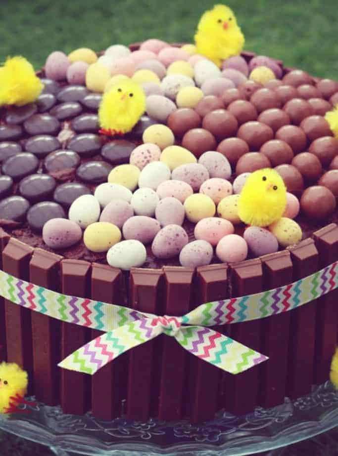 An Easter showstopper centrepiece made from a chocolate fudge cake for the base and decorated with Kit Kats around the side, chocolate fingers, malteesers, minstrels and mini eggs to decorate the top!