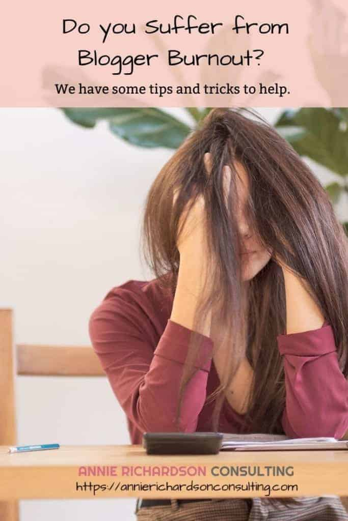woman with head in hands, blogger burnout