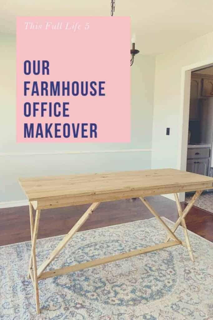 wood desk in office