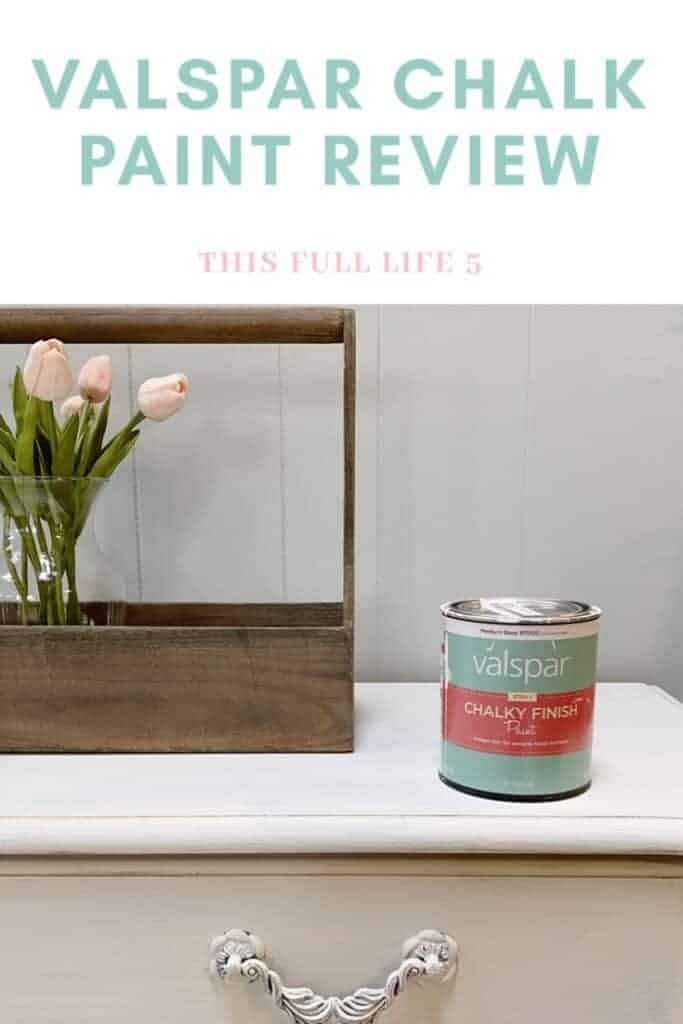 can of chalk paint on chest with flowers