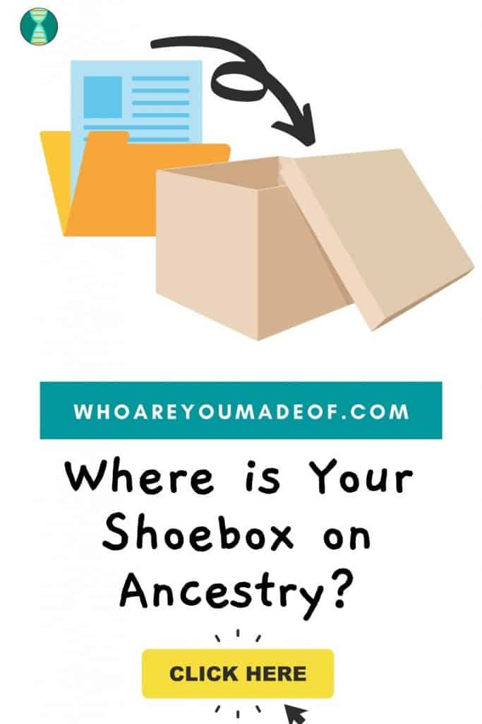 Where is Your Shoebox on Ancestry Pinterest image with shoebox and folder with documents