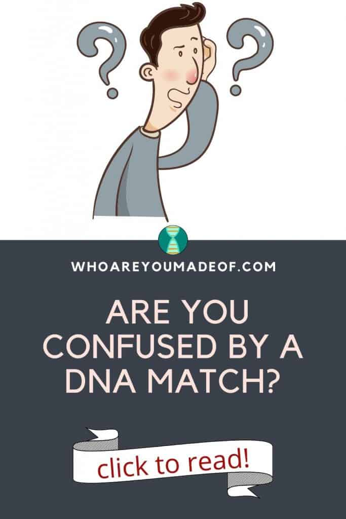 Are you confused by a DNA match?  Pinterest image with a graphic of a confused man with question marks around his head