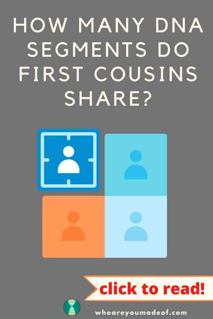 How Many DNA Segments Do First Cousins Share? pinterest image with a graphic of four cousin DNA matches