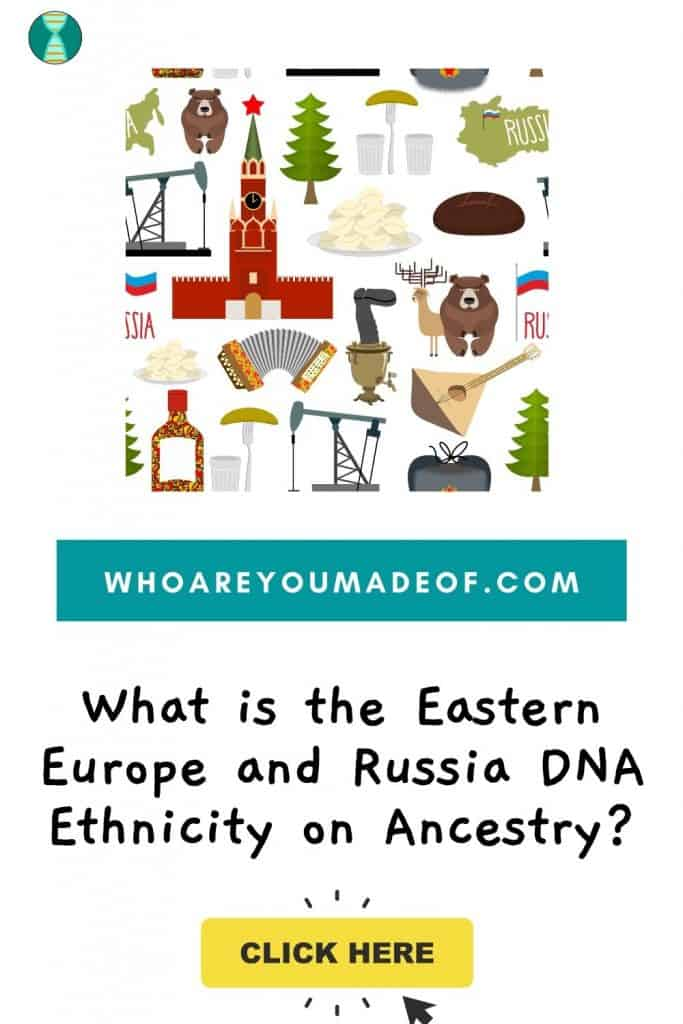 What is the Eastern Europe and Russia DNA Ethnicity on Ancestry?  Pinterest image with graphic included images and artifacts from Russia